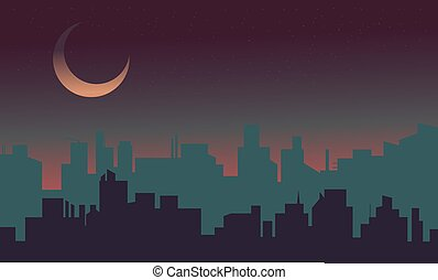 Silhouette of building scenery at night