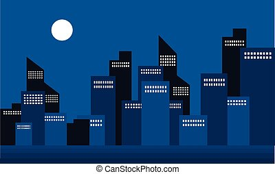 Silhouette of building town at night