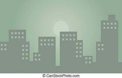 Silhouette of building with fog