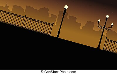 Silhouette of building with street lamp scenery