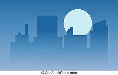 Silhouette of buildings at the night
