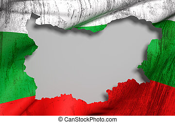Silhouette of Bulgaria map with flag