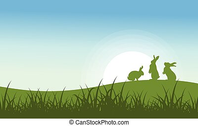 Silhouette of Bunny on the hill