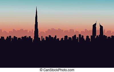 Silhouette of burj khalifa city building