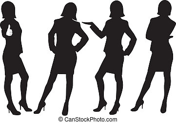 silhouette of business ladies