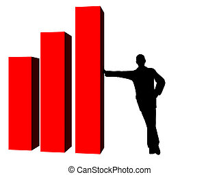silhouette of business man, leaning against part of ...