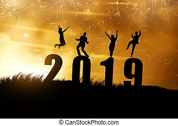 Silhouette of business people celebrate new year 2019. Happy New Year 2019