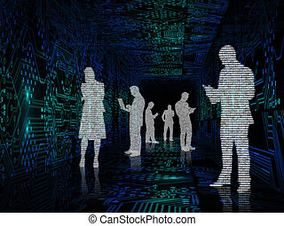Silhouette of business people in the middle of circuit board...