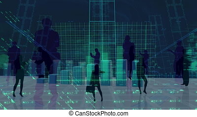 Silhouette of business people looking at statistics.