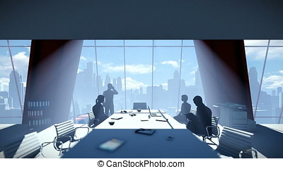 Silhouette of Business People Team, Rear View Cityscape, zoom in