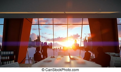 Silhouette of Business People Team, Rear View City Skyline at Sunset