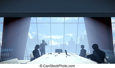 Silhouette of Business People Team, Rear View City Skyline