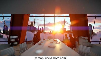 Silhouette of Business People Team, Rear View Cityscape at Sunset, zoom in
