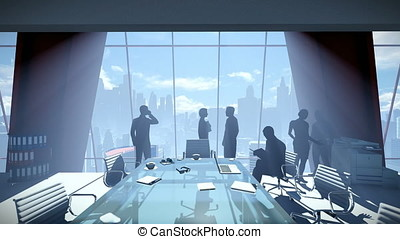 Silhouette of Business People Team, Rear View Cityscape
