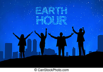 Silhouette of business people with Earth hour message
