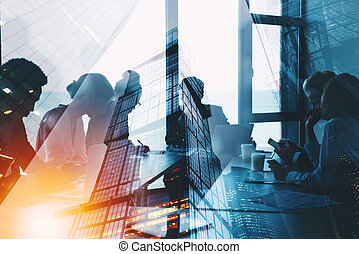 Silhouette of business people work together in office. ...