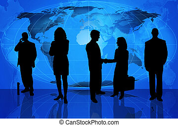Business professionals standing in front of a world map.