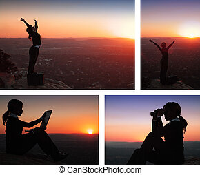 Collage combination of African American Business Woman on top of Hill during Sunset