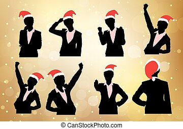 silhouette of business woman - silhouette of christmas...