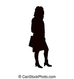 Silhouette of business woman.