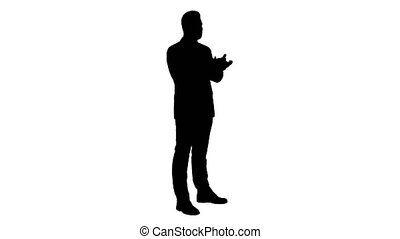 Full length side view. Silhouette Businesses man applauding. Professional shot in 4K resolution. 014. You can use it e.g. in your commercial video, business, presentation, broadcast
