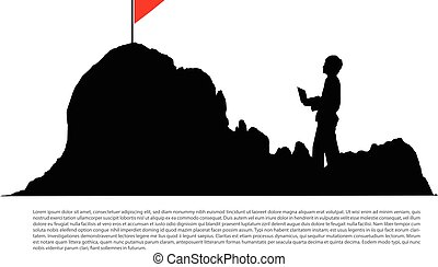 Silhouette of businessman working with laptop on the mountain