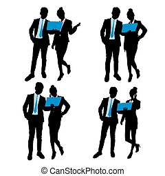 silhouette of businesspeople use phone on white background