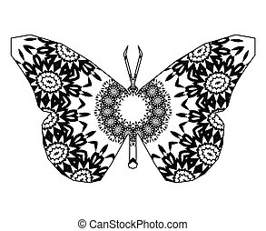 butterfly with circular ornament
