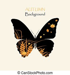 Silhouette of butterfly with grass