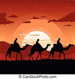 silhouette of camel caravan traveling in desert at sunset