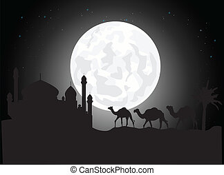 silhouette of camel trip - vector illustration of Beautiful...