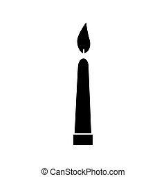 silhouette of candle light decoration isolated icon