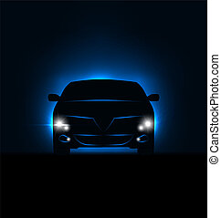 Illustration silhouette of car with headlights in darkness - vector