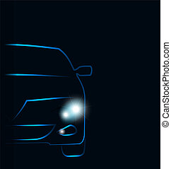 Silhouette of car with headlights in darkness - Illustration...