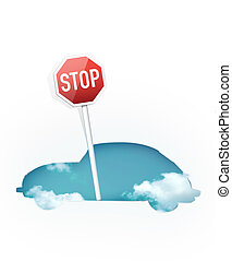 Traffic Sign - Silhouette of Car with Traffic Sign