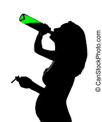 Silhouette of careless pregnant woman with alcohol and...