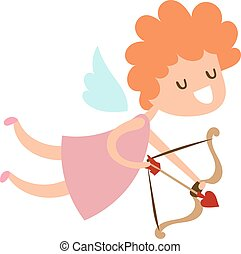 Silhouette of cartoon cupid angel flying valentine cute baby...
