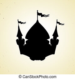 Silhouette of cartoon fortified castle with flags. Icon.