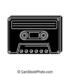 silhouette of cassette of nineties retro isolated icon
