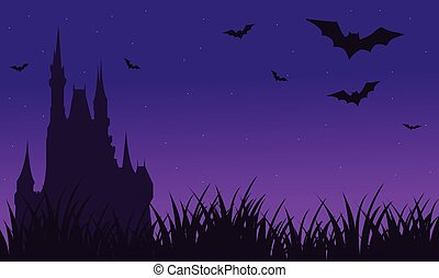 Silhouette of castle and bat twilight Halloween with purple...