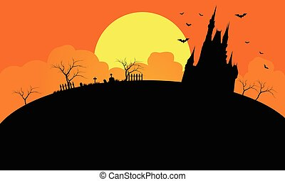 Silhouette of castle at the afternoon