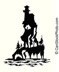 silhouette of castle