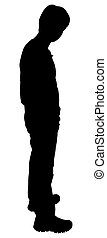 Silhouette of casual  teen boy over white background.