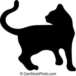 Silhouette of cat - a silhouette of cute cate