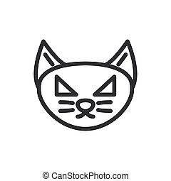 silhouette of cat head on white background