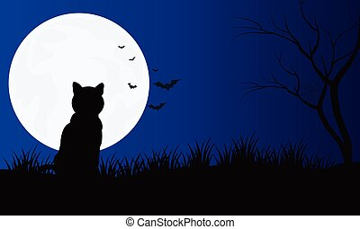Silhouette of cat with full moon Hallowen scenery