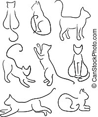 Silhouette of Cats. Cat Design Set Line Art