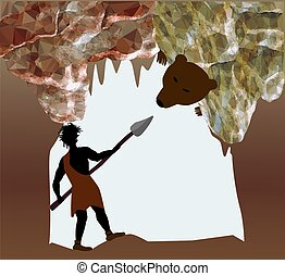 Silhouette of caveman fighting with a bear. Man with spear in a cave of crystals and stalactites