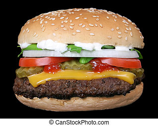 Silhouette of cheese burger and summer garden vegetables -...