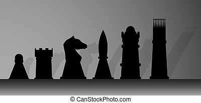 Silhouette of chessmen. King and play, game and chess, queen...